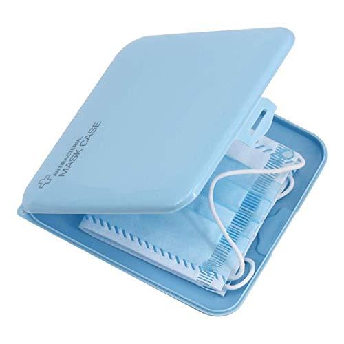 WSZOK Estuche de almacenamiento portátil para máscaras, soporte para máscaras faciales, caja de almacenamiento de plástico a prueba de polvo, seguro y ligero (azul)