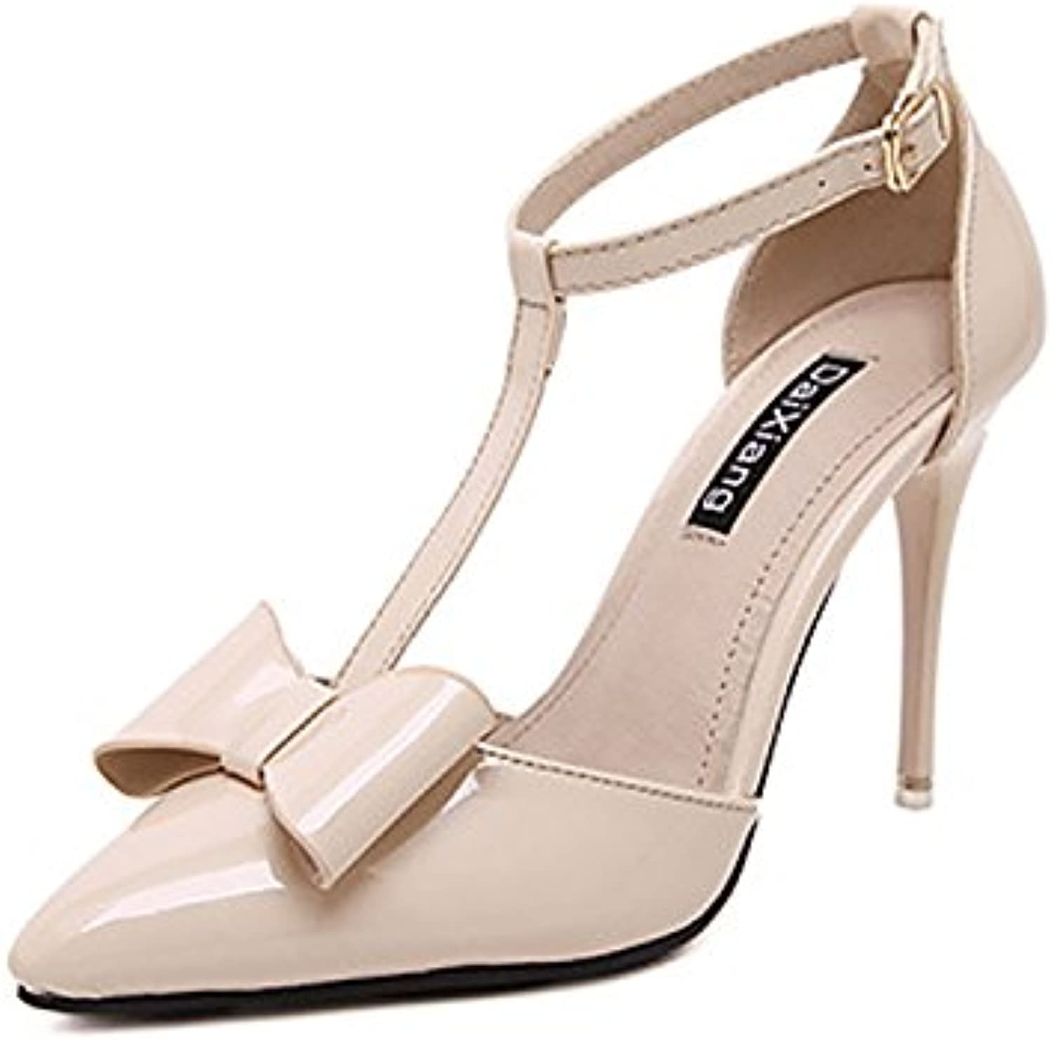 WHW Women shoes bow tie single shoe points a field for the high-heel shoes ,apricot color,34