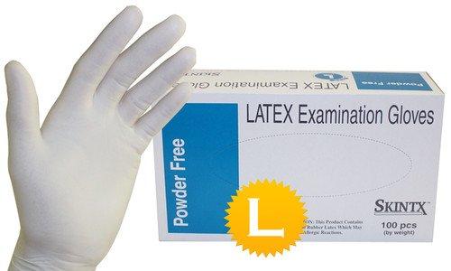 "Latex Medical Exam Powder Free Disposable Glove Size Large- 9.5"" Length - 100 Gloves/Box"