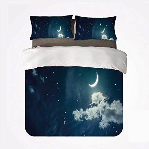 Cielo nocturno Paisaje nocturno Luna Creciente Lunar con nubes Imagen celestial Impresión decorativa ,Juego de ropa de cama con funda nórdica de microfibra y 2 funda de almohada - 140 x 200 cm