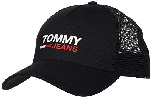 Tommy Jeans TJM Flag Trucker Gorro Sombrero, Negro, Talla única para Hombre