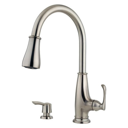 Pfister Ainsley 1-Handle Pull-Down Kitchen Faucet with Soap Dispenser, Stainless Steel