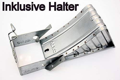p4U AL-KO Unterlegkeil + Halter Hemmschuh verzinkt 1600 kg 120mm breit UK 36 Alko 243.373 244373 244.376 244376