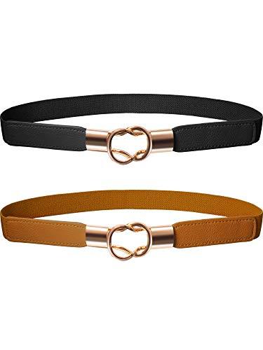 Cinturón Flaco de Mujeres Banda Elástica de Cintura Retro Correa Elástico de Broche de Metal para Vestido (2, Negro Marrón)