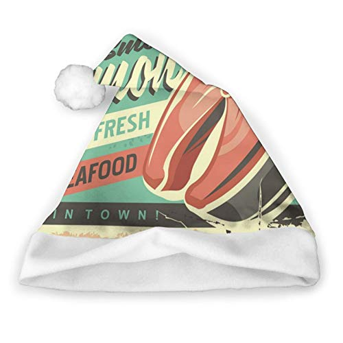 KDIEDIEAS Smoked Salmon Fish Tin Sign 3D Printed Plush Santa Hat,Traditional Red and White Plush Christmas Santa Hat for Christmas Party, Adult Size,Personalized Custom Gift Santa Hat