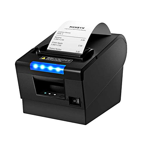 MUNBYN Receipt Printer P068, 3'1/8 80mm Direct Thermal Printer, POS Printer with Auto Cutter - Receipt Printer with USB Serial Ethernet Windows Driver ESC/POS RJ11 RJ12 Cash Drawer