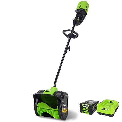 Best Review Of Greenworks PRO 12-Inch 80V Cordless Snow Shovel, 2.0 AH Battery Included 2600602