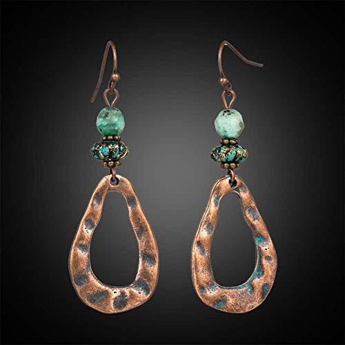 Boucles d'oreilles vacances Vintage boucle d'oreille ethnique poisson crochet naturel perles en pierre balancent boucles d'oreilles pour les femmes charme oreille cadeau