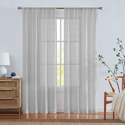 West Lake Farmhouse Sheer Curtain Semi Voile Panels 84 Inches Long Linen Textured Rod Pocket Window Treatment Drape Sets for Living Room, Bedroom, 38 x 84 Inches, Grey, Set of 2 Panels
