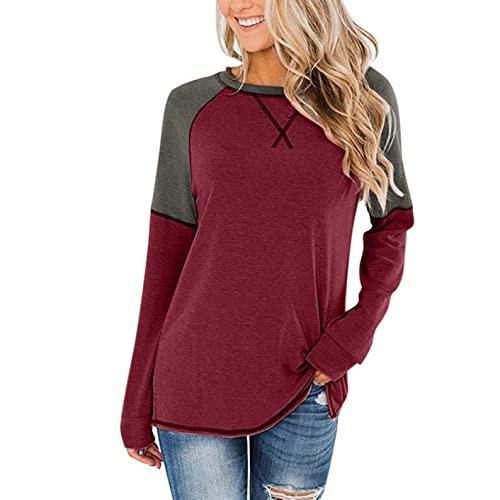 Damen Oberteile,Hevoiok Mode Sexy Freizeit Winter Herbst Sweatshirt Hemdbluse Patchwork Tunika Langarm Bluse Tops T-Shirt (Weinrot, XL)