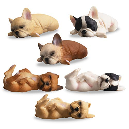 TOYMANY 6PCS Realistic French Bulldog Figurines, Small Solid Lying and Sleepy Dog Figures Toy Set, Christmas Birthday Gift Party Favor School Project Decoration Cake Toppers for Kids Toddlers Children