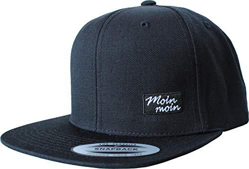 Cap: Moin Moin - Flexfit Snapback - Urban Streetwear - Männer Mann Frau-en - Baseball-cap - Hip-Hop Rap - Mütze - Kappe - Kapitän Seemann - Angler - Hamburg - Basecap - Vintage Retro (One Size)