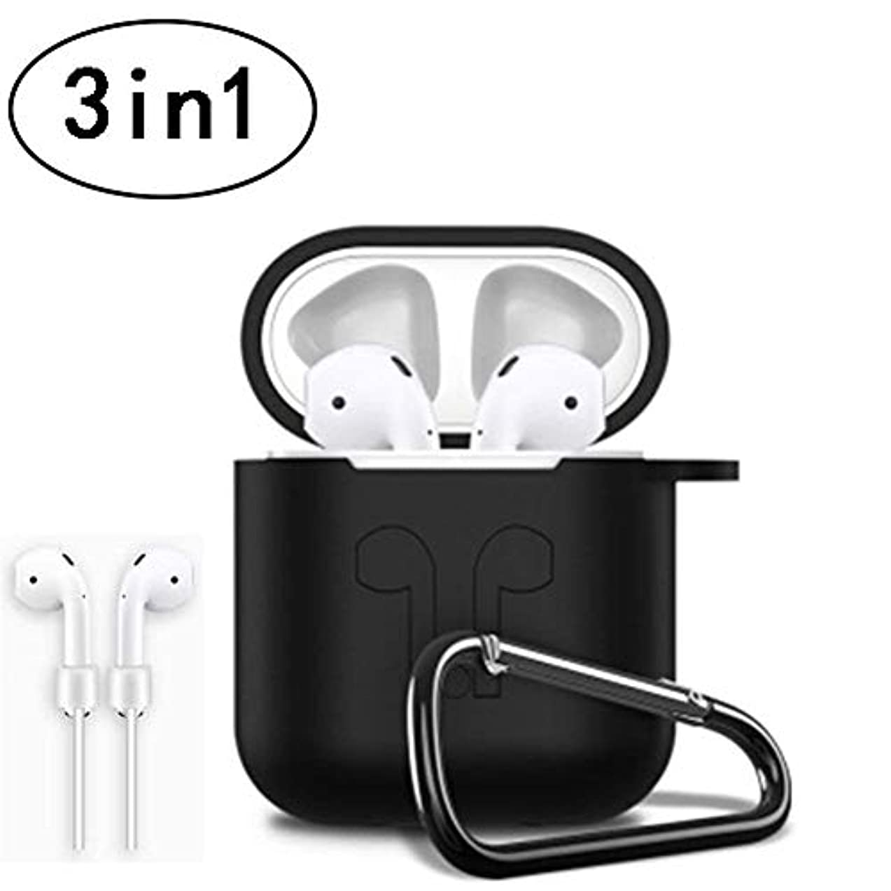 3in1 Non-Slip Silicone Case Cover Earphones Pouch Protective Skin Anti-Lost Wire Eartips Wireless Earphone Case for Apple AirPod-(Black)