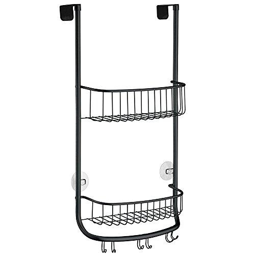 iDesign panier de rangement à suspendre, petit valet de douche en métal avec 2 paniers et 3 crochets doubles, panier de bain pour cabine de douche, noir