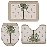 Fancyine 3 Pieces Bath Rugs Sets Tropical Palm Tree Soft Non-Slip Absorbent Toilet Seat Cover U-Shaped Toilet Mat for Bathroom Decor Summer Plant and Beach