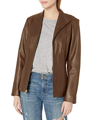 Cole Haan Damen Wing Collar Jacket Lederjacke, Hickory, Small
