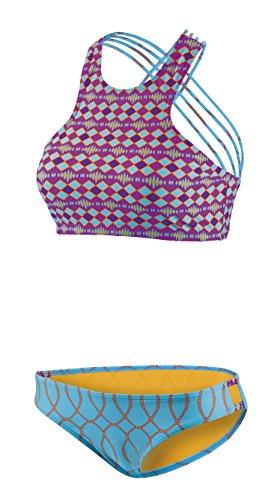 Beco Damen Sportlicher High Neck Schnitt mit Gekreuzten Spaghettiträgern, Herausnehmbare Pads, B Cup Bikini Set, Mehrfarbig, 34