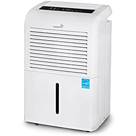 Ivation 4,500 Sq Ft Energy Star Dehumidifier, Large Capacity Compressor Dehumidifier Includes Programmable Humidistat, Hose Connector, Auto Shutoff Restart, Washable Filter, Timer and Casters 4 This Compressor Dehumidifier Keeps Spaces Up to 4,500 Sq. Ft. Cool & Comfortable by Removing 50 Pints of Moisture/Day (70 Pint according to the old DOE standards, in 2019 this was classified as 70 pint and it now needs to be classified as 50 pint but IT REMOVED THE SAME MOISTURE AS THE OLD 70 PINT) Built-In Humidity Sensor - The LCD accurately displays the current humidity level in the room, enabling you to set your ideal levels for automatic moisture control Low Maintenance & Easy Operation; Simply Plug-In, Select Settings & Empty 2.25 Gallon Reservoir