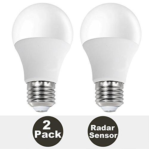 (2-Pack, Warm White) SUNTHIN 7W Motion Sensor Bulb, Microwave LED Sensor Bulb, Built-in Microwave Sensor, Automatically On/Off, Brightness Detection