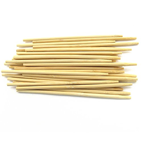 BambooMN 5.5 Inch 5mm Thick Semi Point Food Caramel Candy Apple Corn Dog Garden Bamboo Skewers, 100 Pieces