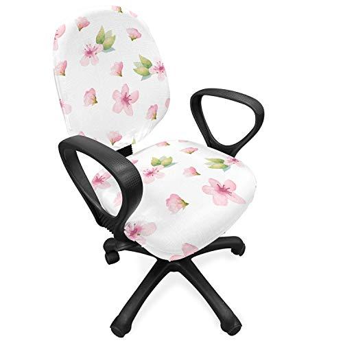 ABAKUHAUS kersenbloesem Hoes voor Bureaustoel, Tender Spring, Decoratieve en Beschermende Hoes van Stretchstof, Pale Pink Green White