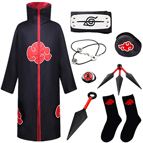 STRDK Naruto Akatsuki Uzumaki Namikaze Minato Kakasi Cosplay Costume Vspera de Todos los Santos Navidad Partido Disfraz Capa Pain Headband Anillo Calcetn Shuriken Masculino Hembra Nio Armas Set