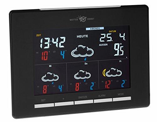 TFA Dostmann Lux Color satellitengestützte Funk-Wetterstation, mit Wetterdrekt Technologie, Profi-Wetterprognose, Farbdisplay, 7 Helligkeitstufen