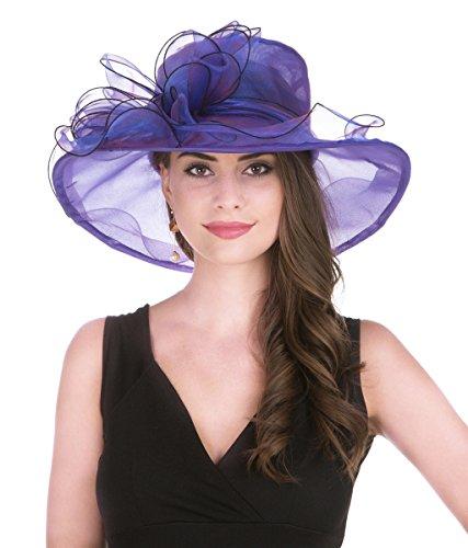 Lucky Leaf Women Kentucky Derby Church Cap Wide Brim Summer Sun Hat for Party Wedding (2-Purple)
