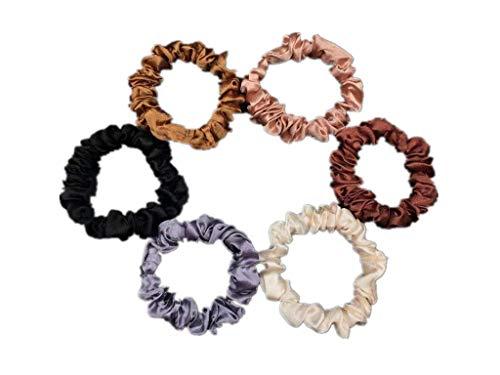 6Pcs Premium Satin Elastic Hair Bands Scrunchy Ponytail holder Hair Scrunchies Hair Ties Ropes Scrunchies for Women or Girls Hair Accessories