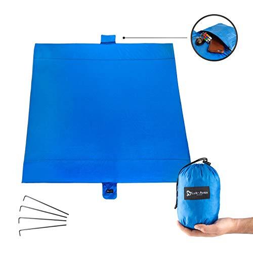 Luk-Aves® Stranddecke Picknickdecke Ultraleicht sandfrei waschbar wasserabweisend (200x200 cm, Blau)