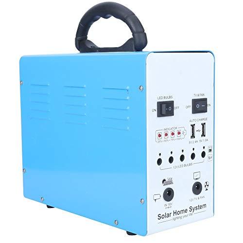 Solargenerator für zu Hause, tragbares Solarstromerzeugungssystem Tragbares Eisengehäuse LED-Licht USB Solar Panel Power System