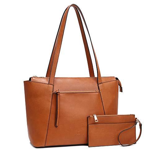 Kattee Vintage-Tasche für 14-Zoll-Laptop, Schultertasche, veganes Leder, Tasche mit einer Tasche für Frauen, Arbeit, Shopping, Geschäftsreisen, braun (Braun) - PU0003BRN