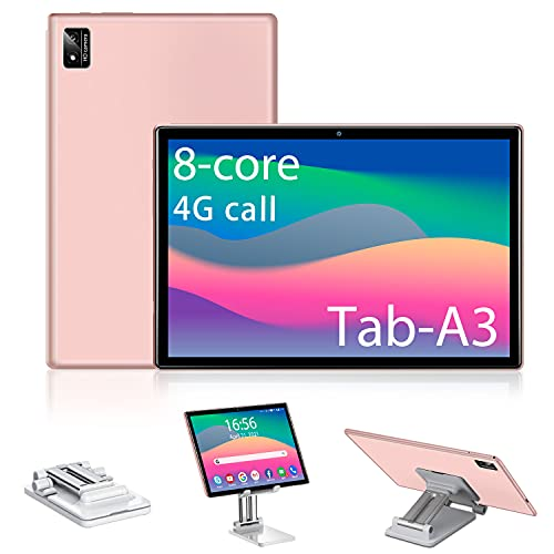 Tablet 10.1 Pollici Android 10, 6GB RAM + 128GB  512 GB ROM, Octa Core 1.5 GHz Certificato Google GMS, 4G LTE + 5G WIFI, 7000mAh 800 * 1280 IPS,WiFi GPS Type includere Supporto per Tablet (Rosa)