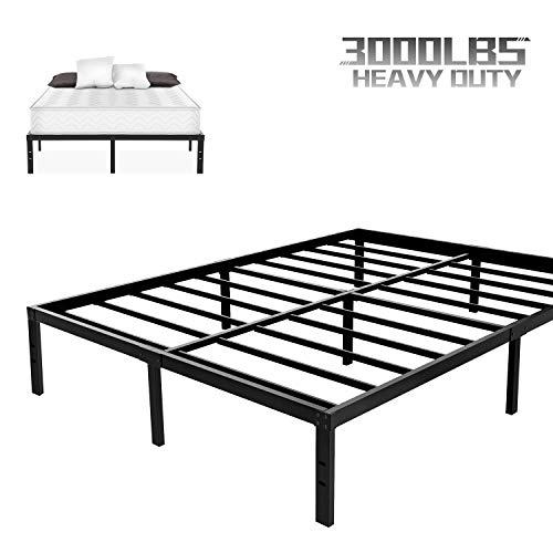 NOAH MEGATRON King Size Metal Bed Frame-14 Inch Mattress Foundation, Heavy Duty Slats Platform Base, 12 Inch Under-Bed Storage, No Box Spring Needed Bedframe, Black