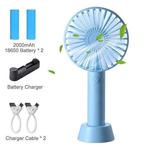 iLogoTech Mini USB-ventilator, kleine handventilator, handventilator, geruisloze zakventilator voor bureau, auto, woning, kantoor, reizen, camping (3 snelheden), zwart blauw