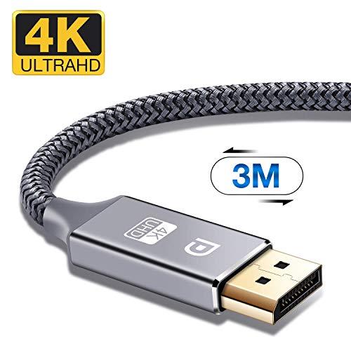 DisplayPort Kabel 3m 4K DisplayPort auf DisplayPort Kabel,ALCLAP DP zu DP Kabel(4K@60Hz,1440p@144Hz) Nylon Geflecht Ultra Highspeed DisplayPort-Kabel für PC,TV,Beamer,Monitor,Grafikkarten(3meter,Grau)