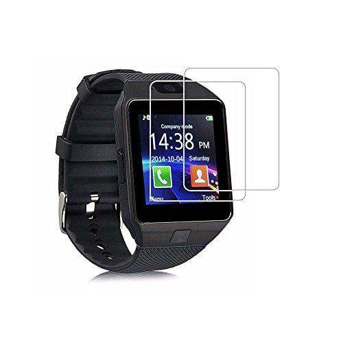 (Paquete de 2) Protector de pantalla DZ09, Cobertura total Protector de pantalla de vidrio templado de 9H Dureza para DZ09 Reloj inteligente con Anti-huella digital Bubble-Free Crystal Clear