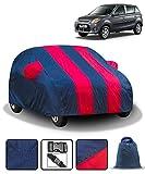 Fabtec Car Body Cover for Maruti Alto 800 with Mirror Pocket & Storage Bag Combo (Full Sized, Full Bottom Elastic, Red & Blue Stripe Design)
