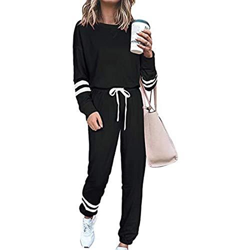 wenyujh Trainninganzug Damen 2 Stück Sportanzug Sweatshirt mit Sporthosen Laufenanzug Jogginganzug Fitnessanzug Sportswear für Frauen(Schwarz,L)