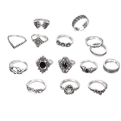 NIDONE 15 Pc/Insieme Retro di Barretta Set Moda Bohemian Intagliato Joint Anelli di Cristallo Knuckle Vintage Ring Set per Le Donne Ragazze