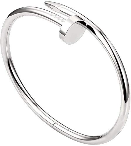 Tiny Shopping Mens Jewellery Screws Cuff Bangle Titanium Steel Nail Open Bracelets Love Couples Bracelets (Silver)