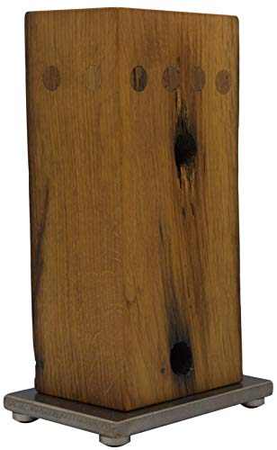 cleenbo XL Messerblock groß aus Holz, magnetisch aus handgearbeiteter ca. 300 Jahre alter Eiche, Block mit Magnet, unbestückt leer ohne Messer, geeignet für jedes Kochmesser