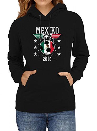 Shirt Happenz Mexiko Weltmeisterschaft 2018#19 Premium Hoodie Fan Trikot Fußball WM Nationalmannschaft Frauen Kapuzenpullover, Farbe:Schwarz;Größe:M
