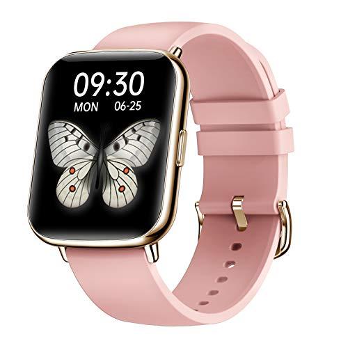 FMSBSC Smartwatch Mujer Hombre Reloj Inteligente Monitor De Sueño Pulsómetros, 24 Modos Deportivos Fitness Tracker,Rosado