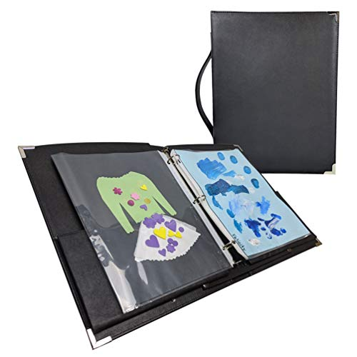 MSP large Music Sheet Piano Folder 10' x 13.5' with Handle and 3 Rings Binder LARGE (220-Black) (Music Folder with binder sleeves)