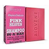 Biovène Pink Heaven Shampoo In-A-Bar – Champú en barra para una limpieza profunda - Ingredientes naturales + aceites esenciales – Anti-quiebre/resequedad del cuero cabelludo - Sin parabenos (75g)