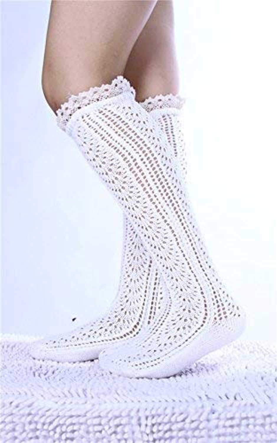 Comfortable Arm Warmer Leg Stocking Japanese and Korean Knitting Openwork Socks Female Students Autumn and Winter Lace Stacking Socks Woolen Leggings (color   White)