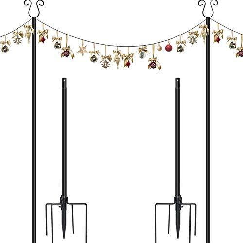 ERYTLLY 10ft String Light Pole 4 Prong Fork Pole Stand, Outdoor String Light Pole Stand Weather Resistant for Halloween, Christmas Decoration, Café Wedding Light Déco,2 Pack