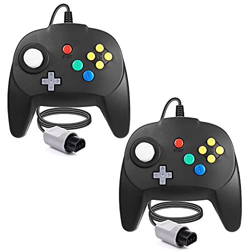 [Nueva versión] 2 paquetes para controlador N64, mando de juego para N64 – Plug & Play (versión USB no PC) (Joystick del Japón), color negro