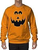 INKEEZY Men's Pumpkin Evil Smiley Face - Halloween Crewneck Sweatshirt (Orange, XL)